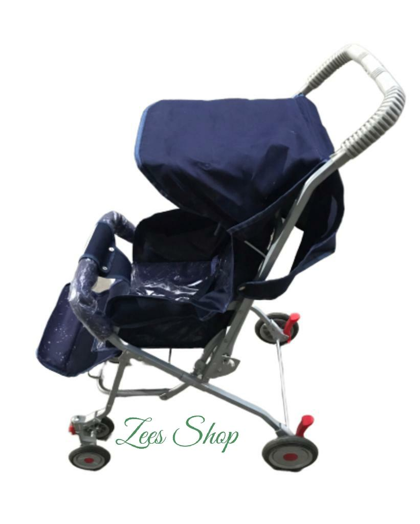 Alloy Foldable Baby Stroller Pram For Newborn  Blue color with  6 Rubber Tyres