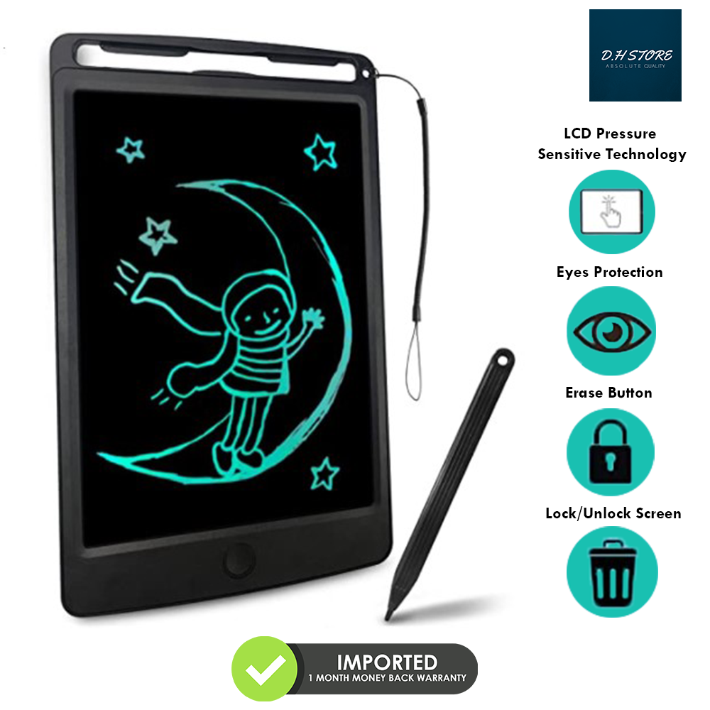 Imported LCD Writing Tablet Portable Doodle Drawing Tablet Pad Durable Electronic Slate E-writer Digital Memo Pad Erasable Writing Board Learning  and Education toys and gadgets For Kids Babies & Adults - 8.5 inch - Monochrome