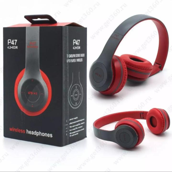 Original P47 Bluetooth Wireless Headphones with Ultra Bass and long range - Over The Ear Budget Stereo Earphones Headset with Memory Card Slot and 3.5mm Slot - Different Colors