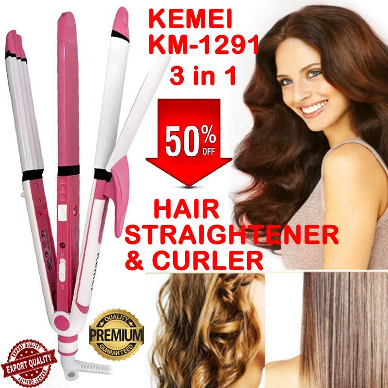 KEMEI KM-1291 Hair Straightener Hair Curler Hair Roller 3 in 1 Ceramic Electric Professional Flat iron Hair styling tool Beauty Set Rod for Women KM 1291