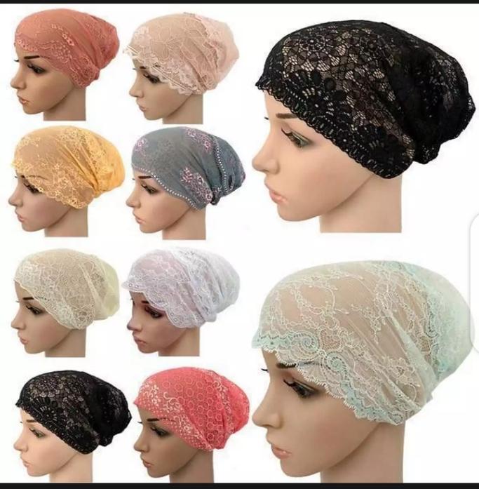 3 PCS Muslim Women Lace Hat Islamic Inner Caps Head wear Under scarf Hijab Head wear Wrap