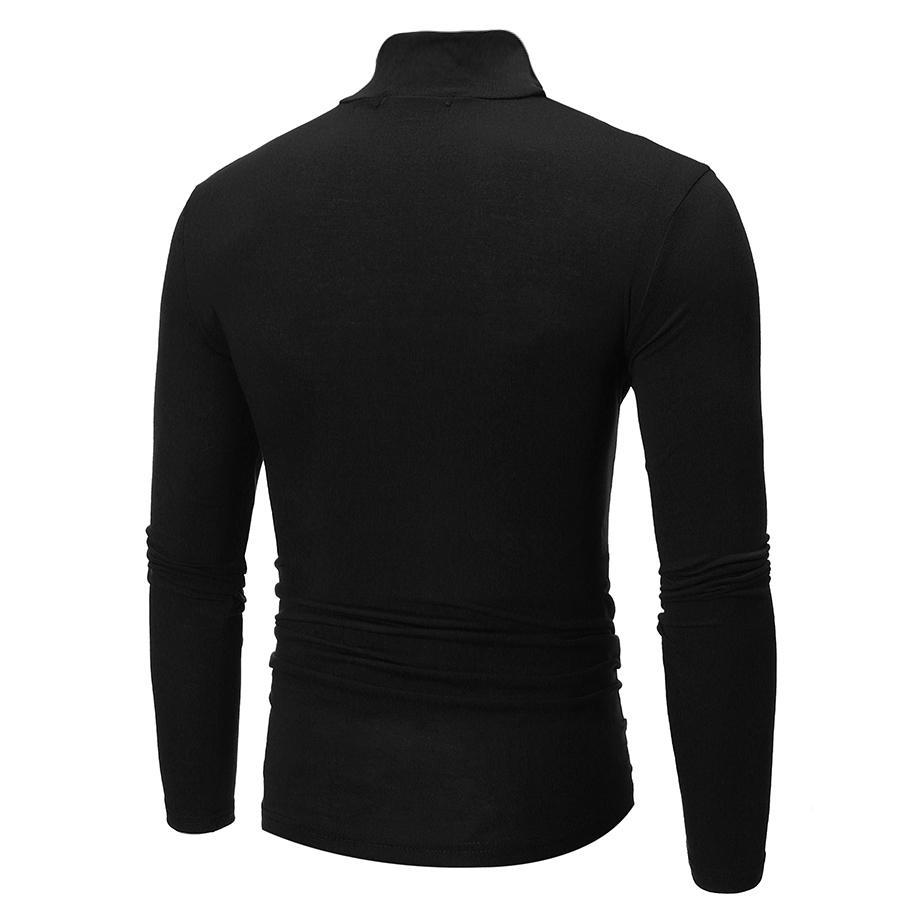 Mens Winter Warm Long Sleeve Fleece High Neck Pullover Top