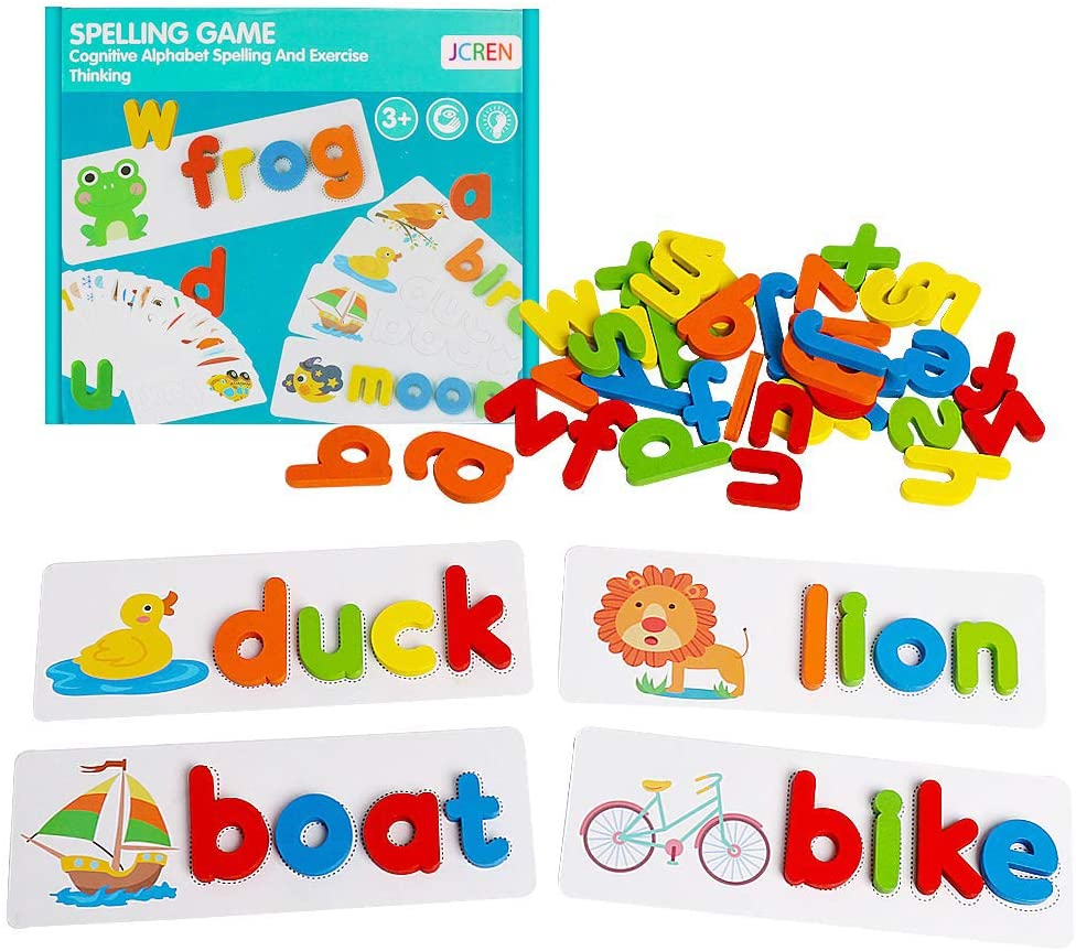 Spelling Learning Toy Wooden ABC Alphabet Flash Cards Matching Shape Letter Games Montessori Preschool STEM Educational Gift Toys For Kids Early Educational Toys (26 Word Cards, 26 Alphabet Cards, 52 Wooden Alphabets, 1 Marker)