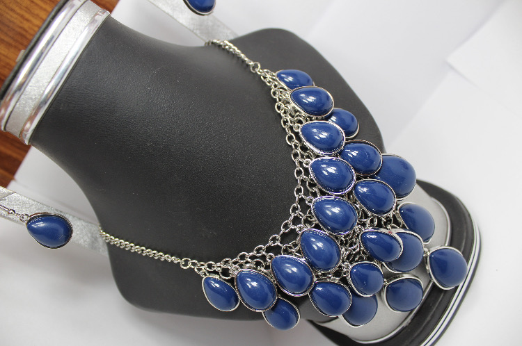 Trendy Fashion plastic blue stone set with drop Earrings for wedding  party bridal best quality low price