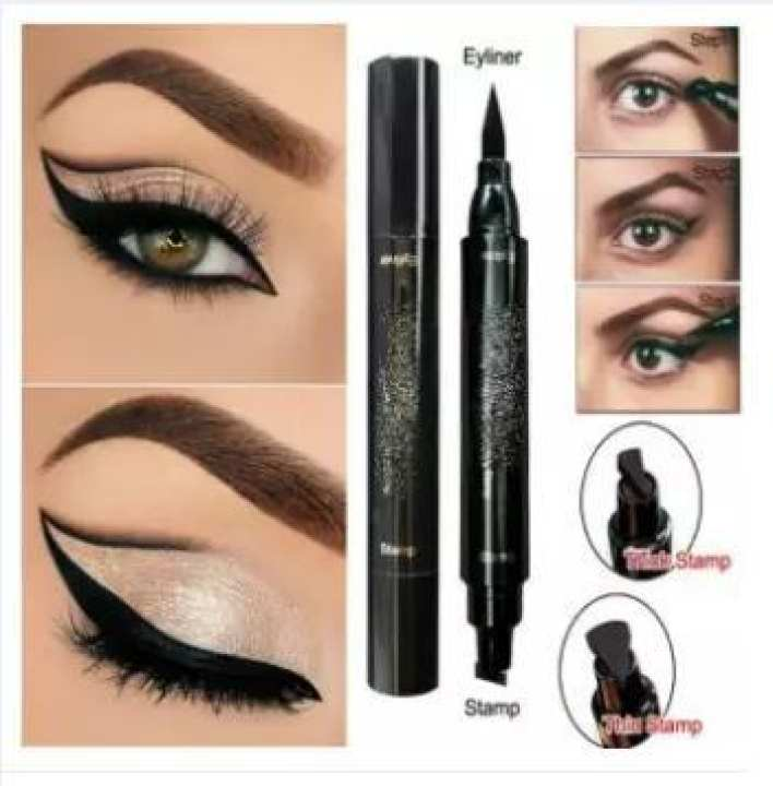 Premium Eye Wing Eyeliner Stamp Tool Pencil - Black