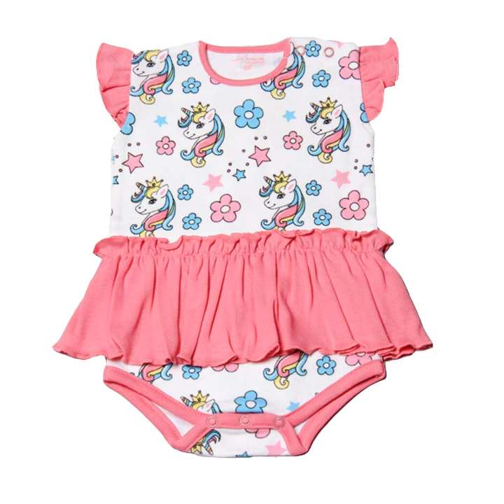 Featherhead NewBorn Baby Bodysuits/Rompers for Girls made with 100% Breathable Soft Cotton Floral and Unicorn Print - Made in Pakistan