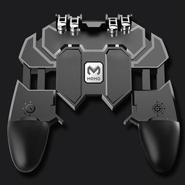 AK66/5in1 Mobile Game Controller Trigger Six Finger All-in-one Joystick Gamepad for PUBG - Black
