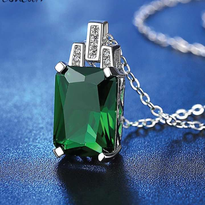 Rectangle Chain Pendants Necklaces Women Fashion Jewelry Green Stone Pendant Necklace
