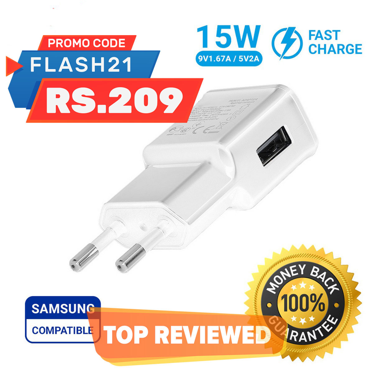 Adaptive Fast Charger Quick Charge for Samsung Oppo Huawei Honor Real-me Tecno & Other Smartphones