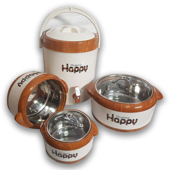 Superior Quality Hygena 4 Pcs Gift Pack/Hot Pot set Hot Pot Capacity Small-750 Medium-1500ml,Large-4000 ml. with Water Cooler 14 ltr