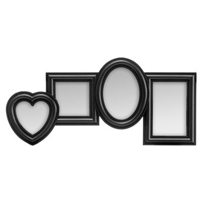 4 Photo Black Plastic Multi Photo Frame