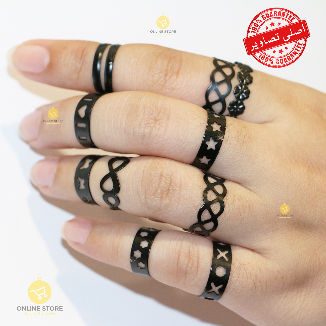 Pack of 10 - Adjustable Finger Rings For Girls - Golden Black and Silver Colour - Attractive Ring Colors for women gift jewelry latest 2021
