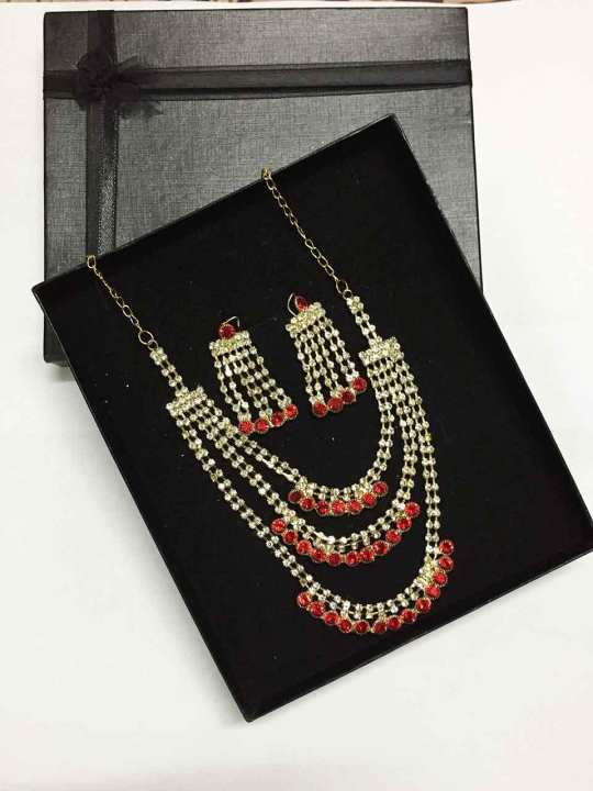 Gift box-Wedding Jewelry Sets Fashion Crystal Bridal Jewelry Set For Women Wedding Costume Jewelry Indian Necklace Sets For Brides Gold Color Jewellery Choker Necklace Earring Imitation Pearl Wedding Decoration