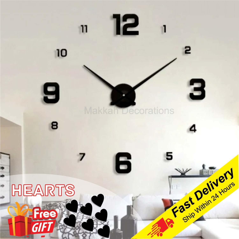 Wall Clock DIY 3D Numbers Design Large Acrylic Mirror Wall Clock For Living Room Decor, Wall Clock