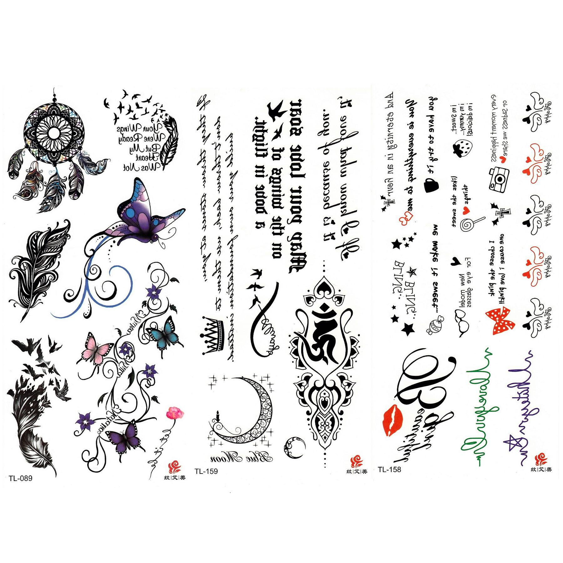 b34fc7e2b92b7 Pack of 3 Waterproof Text Phrases, Text Quotes, Crown Moon. Butterflies,  Dream