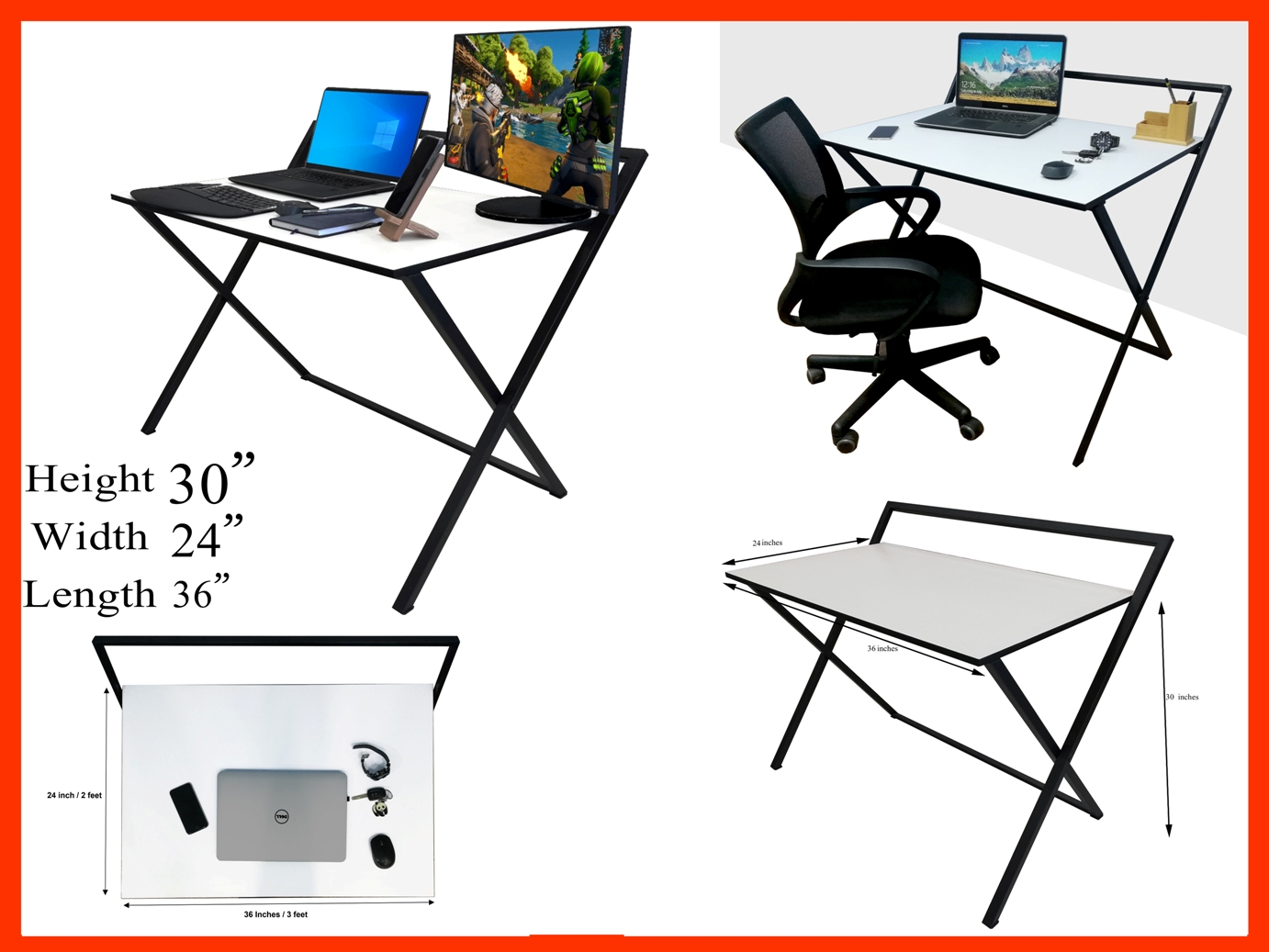 x Smart Portable Folding Study Table Office Workstation Multipurpose Table 36x24 Inches Metal Frame MDF Top