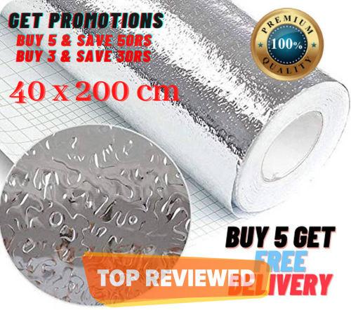 Self-Adhesive Aluminium Foil Sticker Roll, Oil Proof Waterproof Aluminium Sheet DIY Wallpaper, Aluminium Sticker for Home, Kitchen, Stove, Cabinet, Wall, Drawers, Furniture, (Silver & Gold Color)
