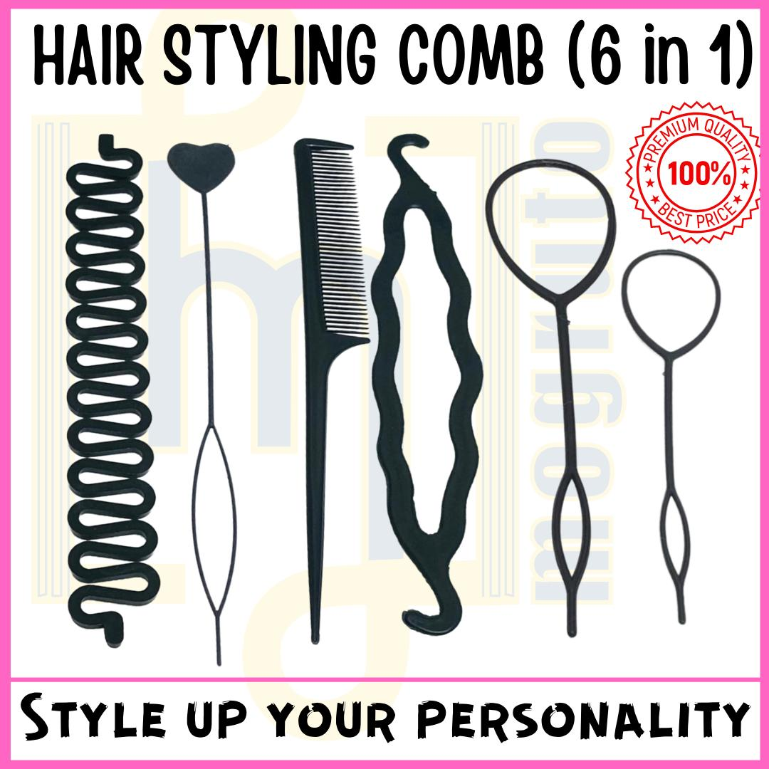 MOGRUTO High Quality Braids Tool Hair Accessories (Pack of 6 Pcs) for Latest Hair Styles Curler, Twister, Pony Tail Maker, Bun Roller Clip Fashions for Women, Girls