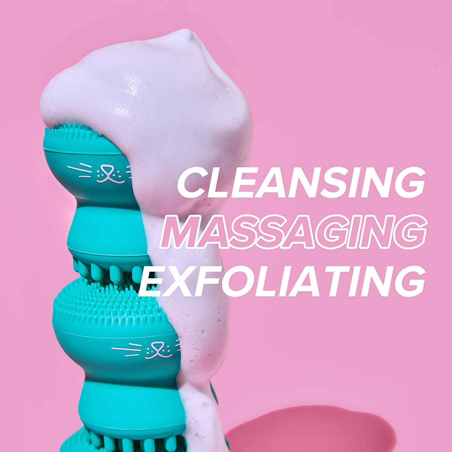 EFERO Cute Face Cleansing Brush Soft Silicone Face Skin Care Cleaning Tools for Women Exfoliating Scrub Face Massage Brushes