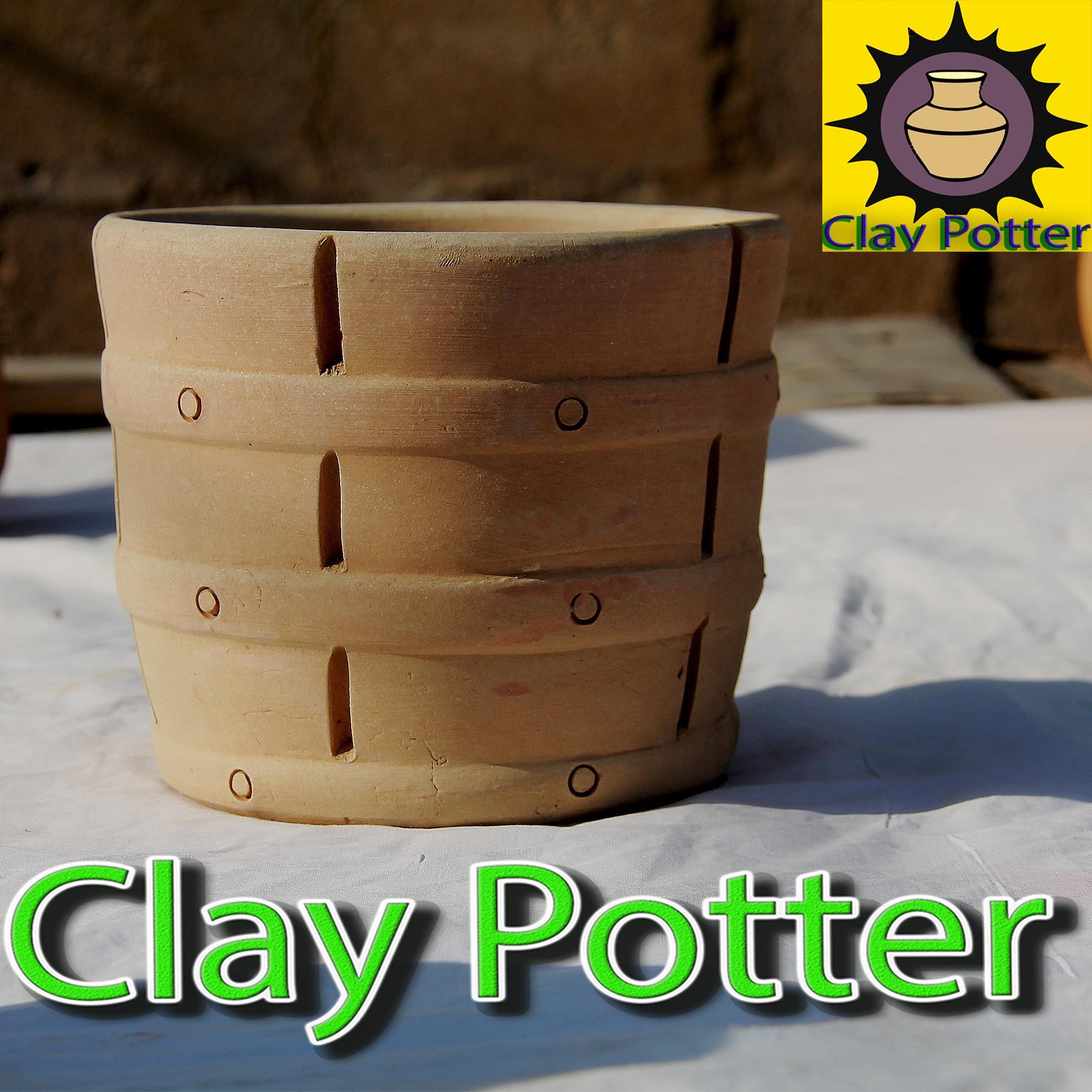 Home clay flower vase/ round garden