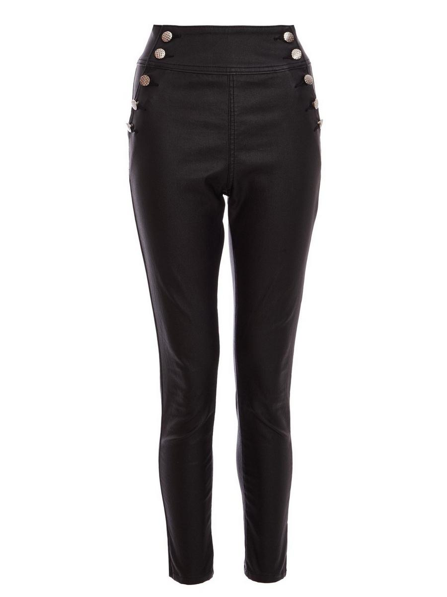 Quiz Black High Waisted Button Skinny Jeans for Women- 00100018765-6