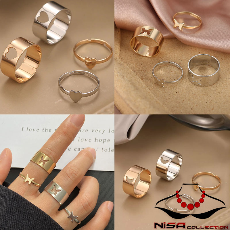 Nissa Collection - Trendy New Butterfly Heart Matching Couple Rings for Women Men