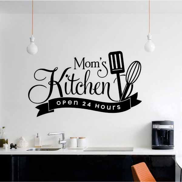 Zecor Gallery Mom`s Kitchen Open 24 Hours Wall Art Stickers for Kitchen Dining Area
