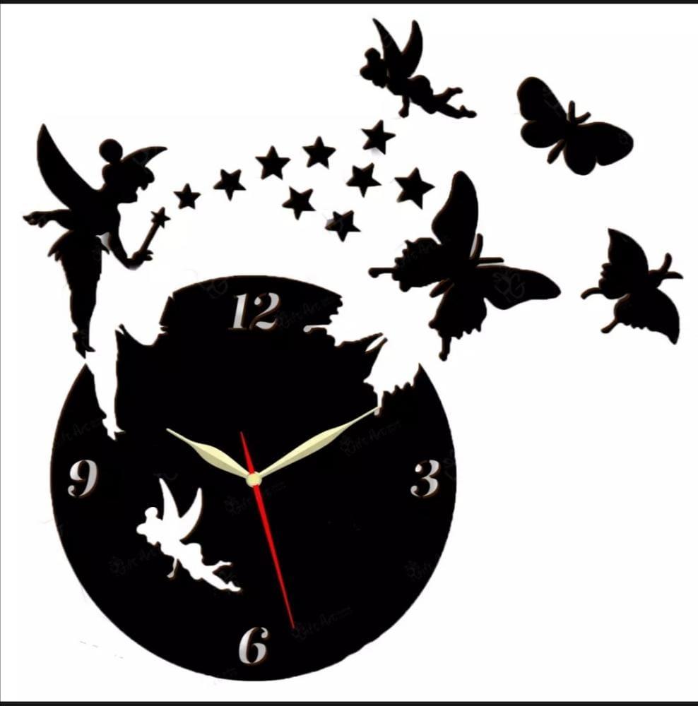 3D Fairy Wooden Wall Clock Laser Cut For Room Decor Fairy wooden Wall Clock For Home Decor With Good Quality Watches 3D Laser Cut Wall Clock With 2 Fairy 9Stars and 3Butterflies Girls Favorite 3D Laser Cut Wall Clock In Modern Fairy With Stars  Butterfly