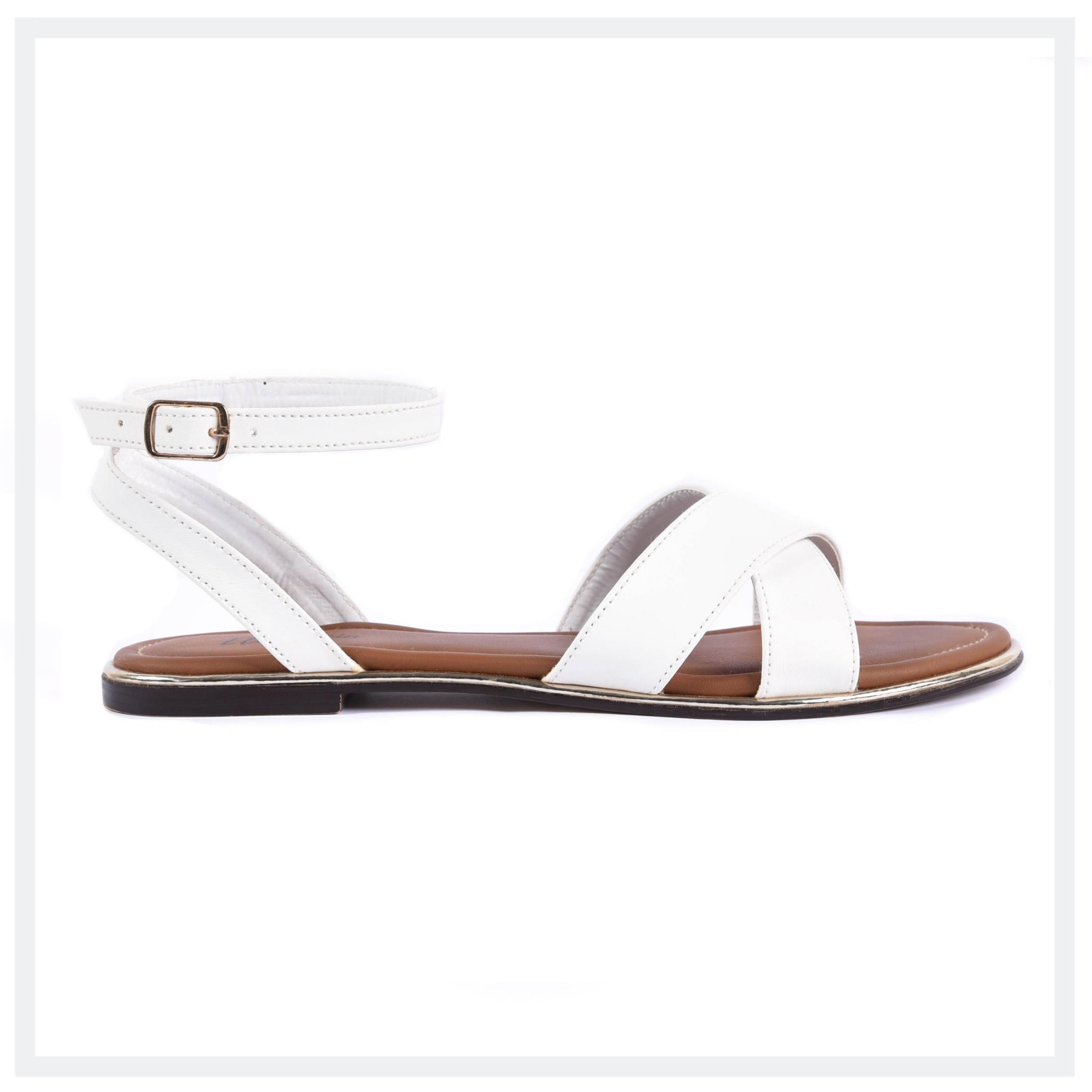 CAMILA  Women's Flat Sandals  White  Elegancia