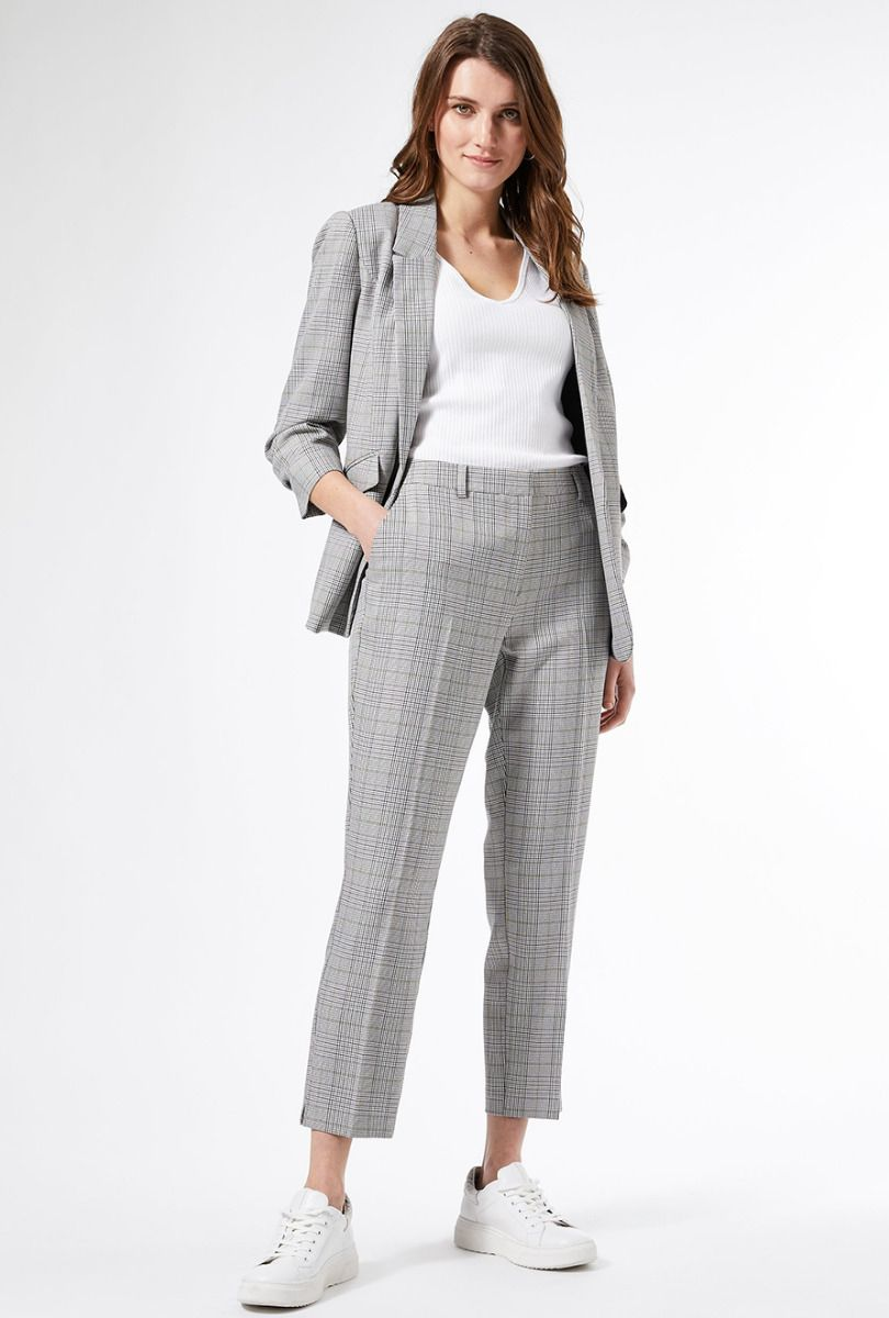 DOROTHY PERKINS Grey Checked Ankle Grazer Trousers for Women- 66426522-8