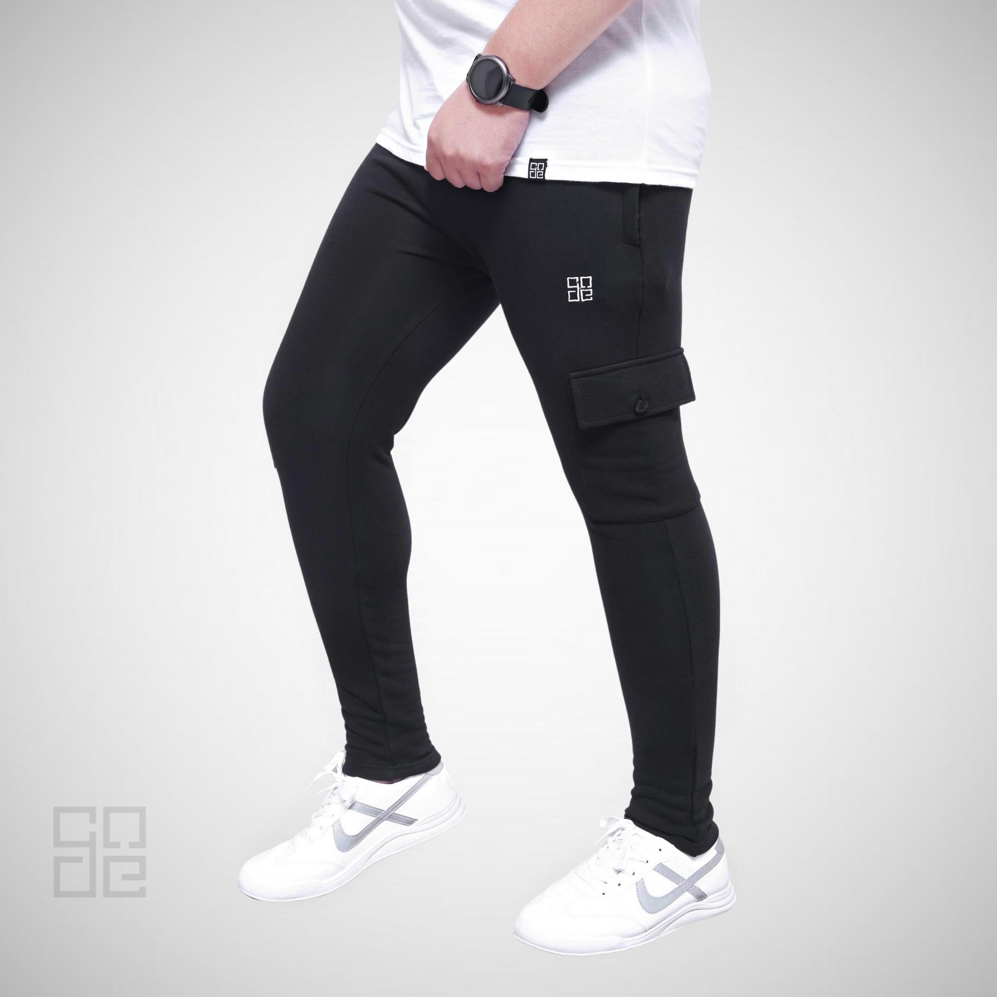 Winter Trouser For Men Black Cargo Style French Terry Trouser