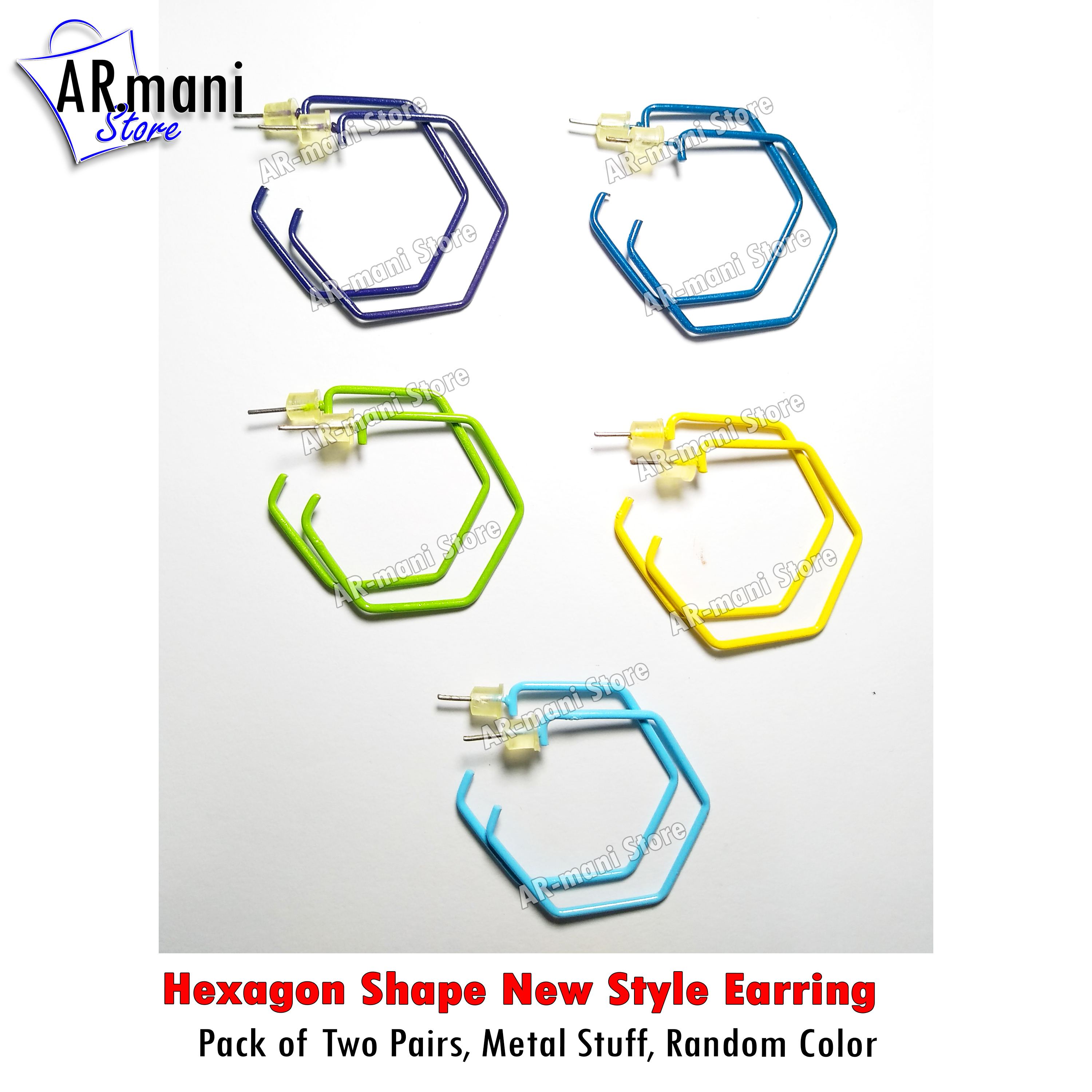 New Hexagon Shape Style earring tops set 2 pairs for girls fashion ear rings tops studs