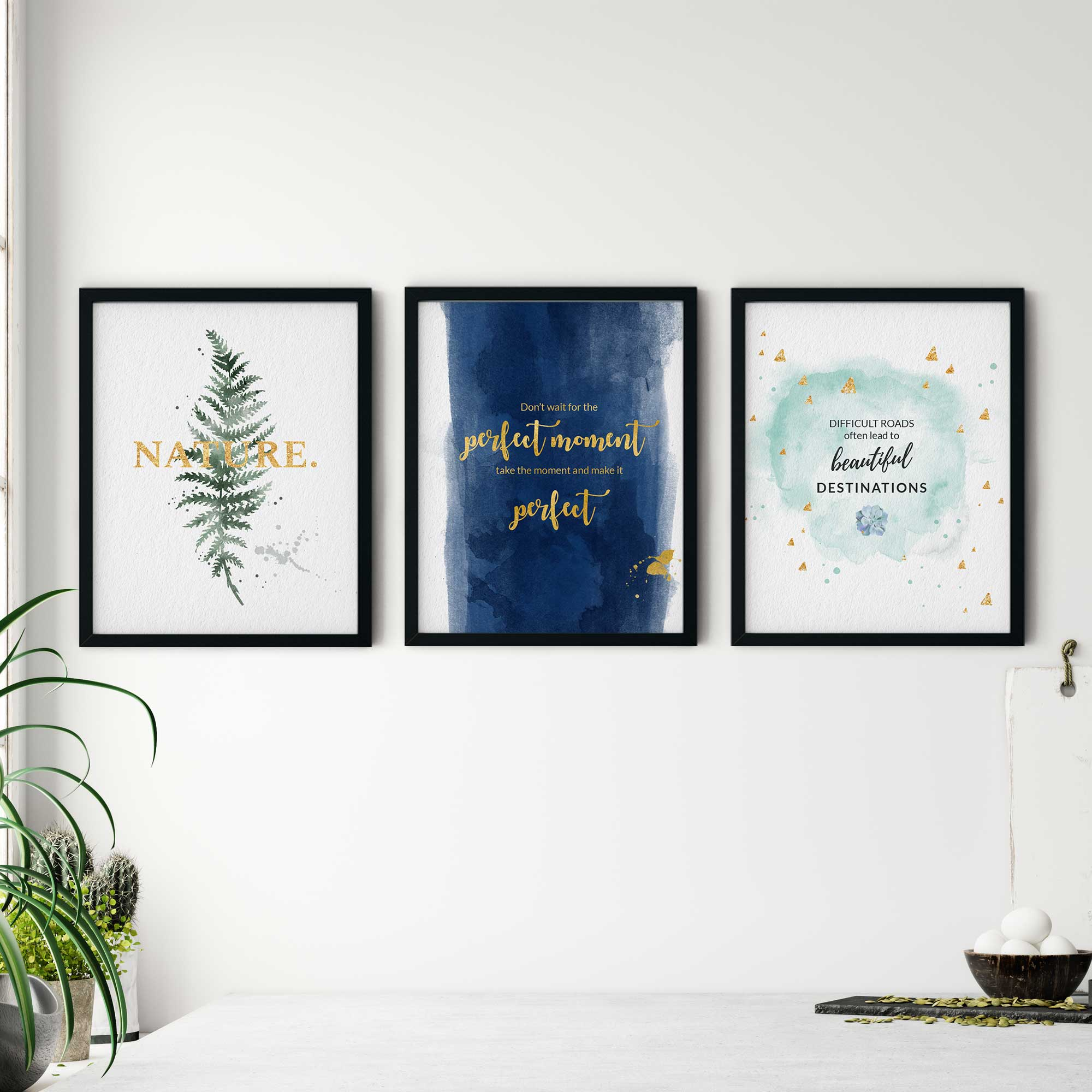 3 Glass Front 8x10 Photo Picture Frames Set with Digital Prints theme Gold Motivational Quotes for Minimalist Living Room, Bedroom, TV Lounge, Study Room Modern Wall Hanging Art