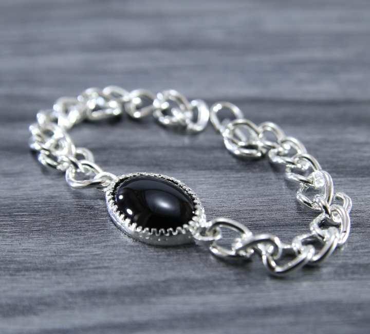 The Big Stitch Premium Silver Hand Made Black Stone Bracelet Adjustable