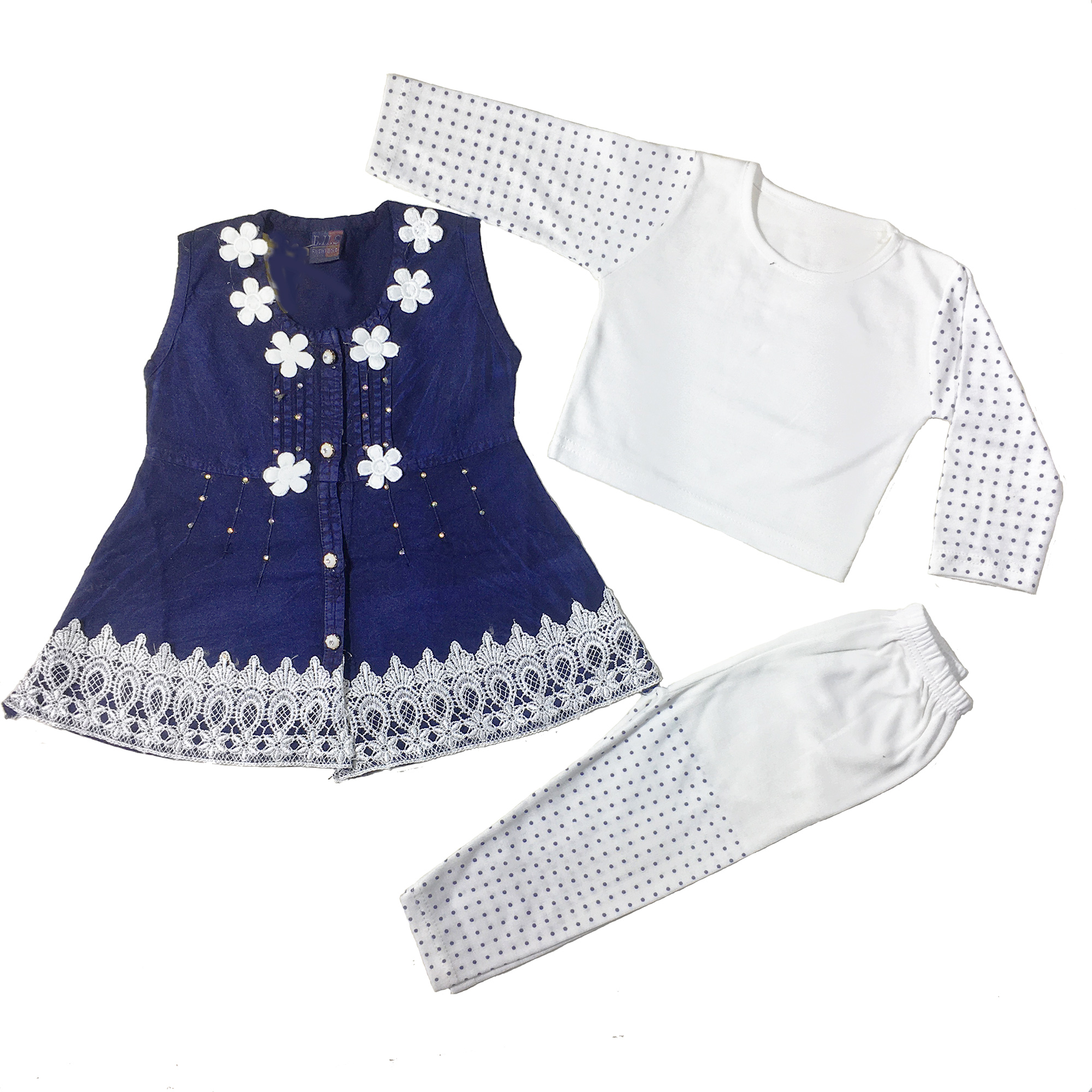 Baby Girls Clothes Denim Uper & Stylish Outfit 3pc Suit