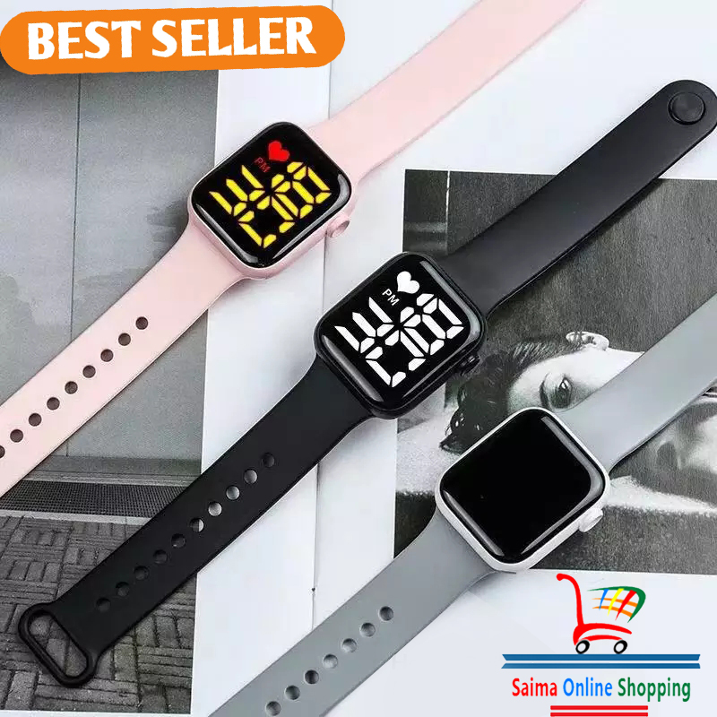 1Pices Y1 Led  Smart watch square Led Watch for unisex boys and girls smart band led band band New stylish  watch  led square smart watch smart band digital watch digital smart watch led watch 2021 for unisex