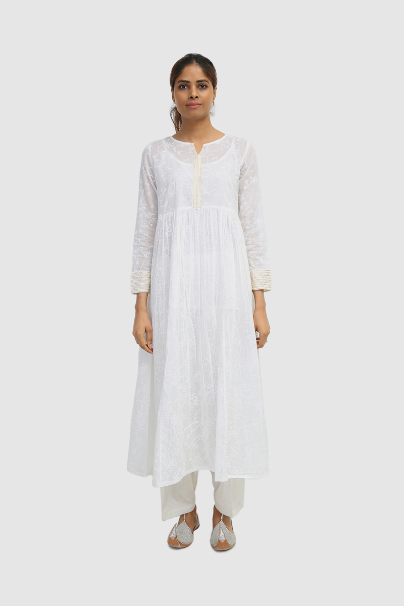 Generation-Stitched 1 - Piece Summer Collection Blour Voile (Lawn) Basic-S21B4065 -White