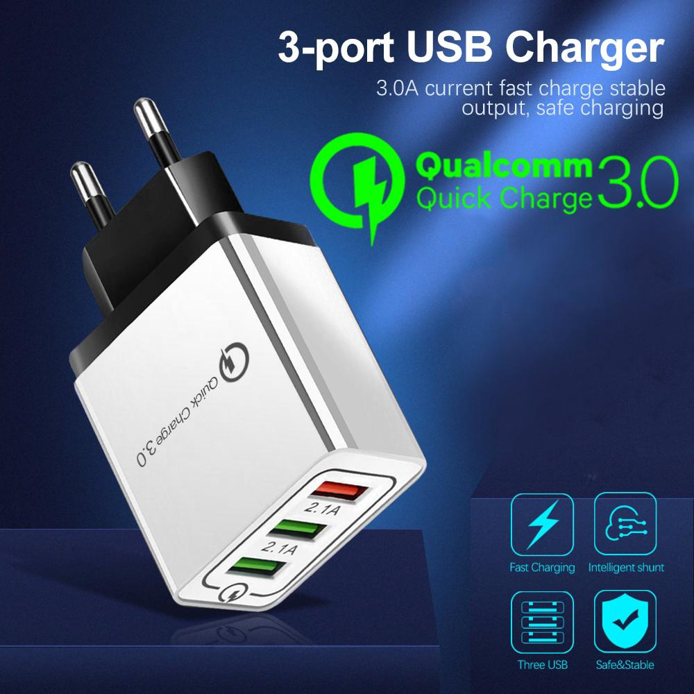Qualcomm QC 3.0 Fast Charger With Triple USB 3 Port 3A 18W Quick Charge For All Brands / For Samsung / Iphone / HTC / Infinix / Xiaomi / Oppo / Huawei / Nokia / Lenovo - White