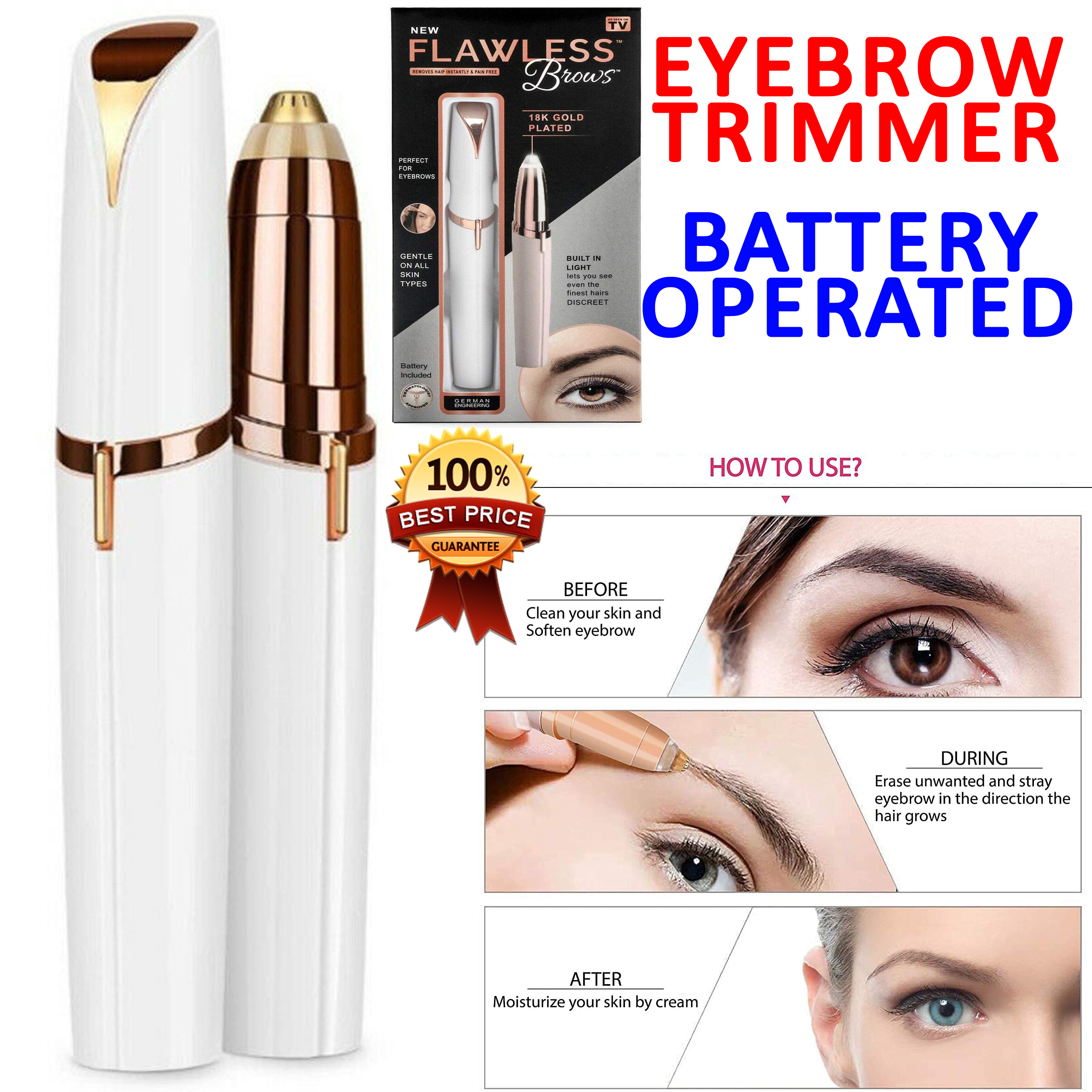 Flawless Brows eyebrow trimmer Shaper Facial hair Remover Professional Mini Electric Female Pen Shaving machine Ladies Instant Hair trimming machine Female Eyebrows Shaving machine Travel Essentials Face Care tool Best Genuine High Quality Painless shaver