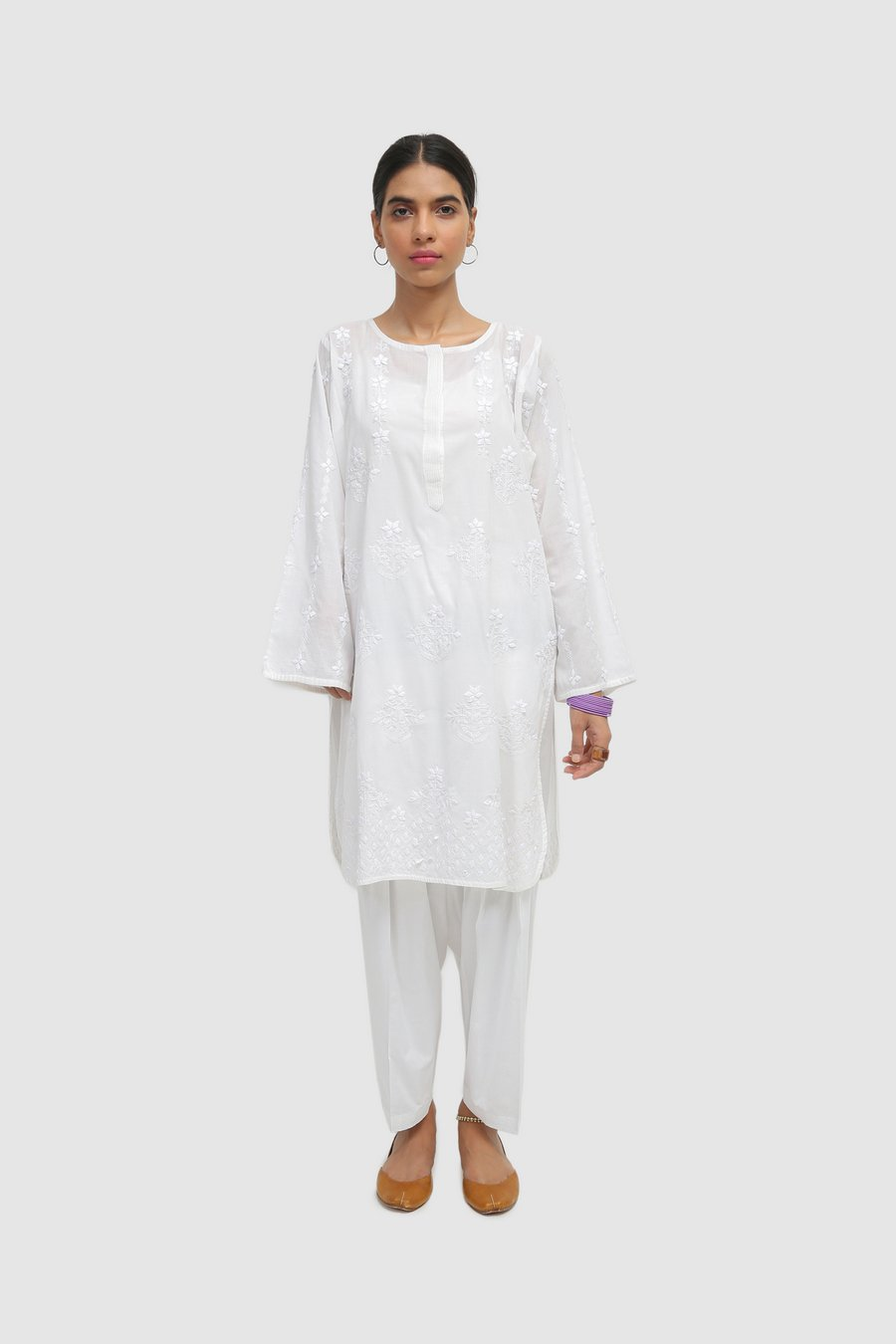 Generation-Stitched-2 - Piece Summer Eid Collection  Generation White Hand Embroidered 2-Pc Lawn Cottage-S20T0496-White