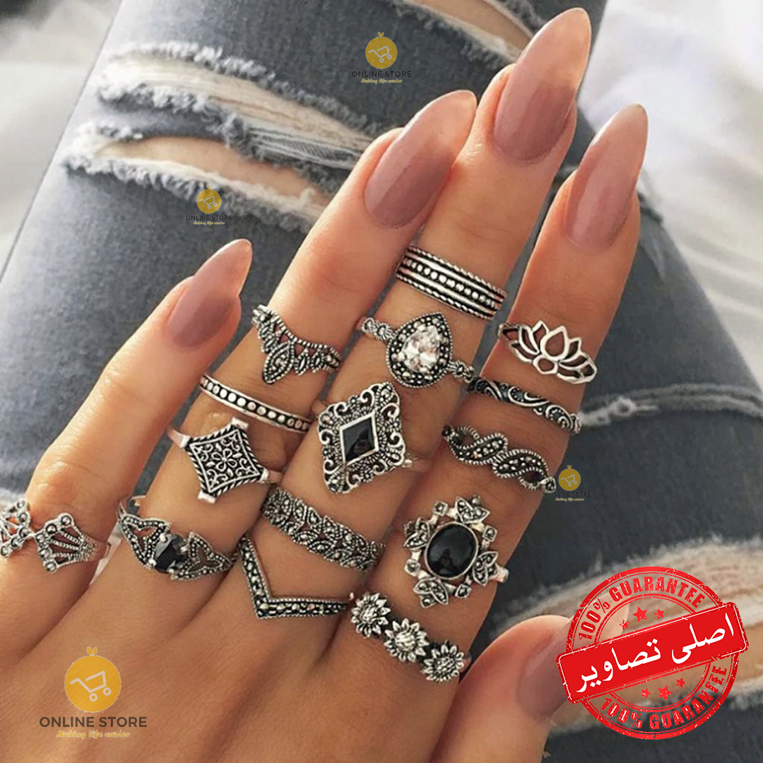 15 Pieces Rings/Set High Quality Combination Rings For Girls & Women