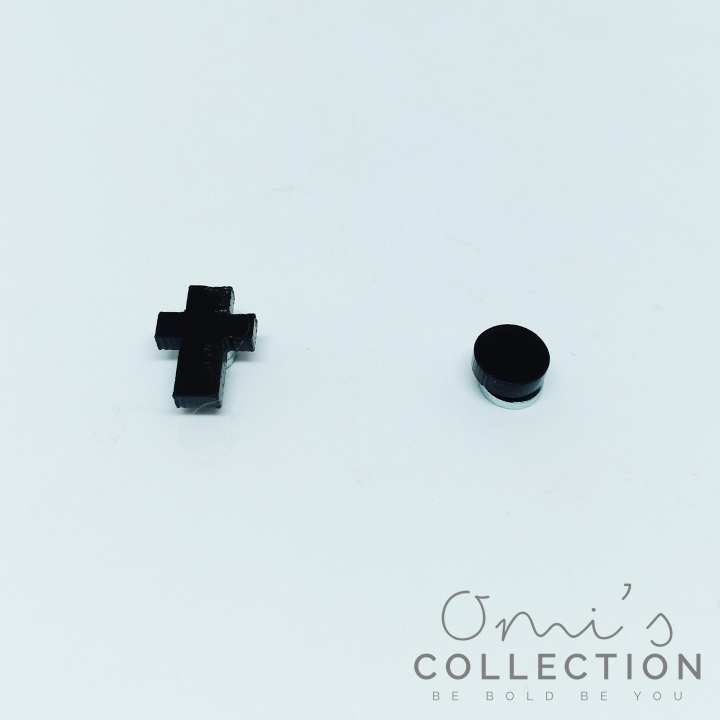 OMI's Pack of 2 Round and Cross Man Women Magnetic Earrings No Piercing Simple Acrylic Earring Design