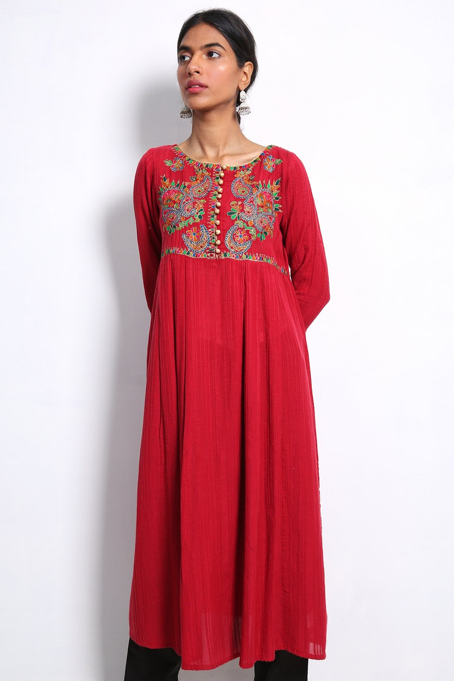 Generation-Stitched 1-Piece Summer Collection Zargul Frock Lawn Contemporary-S20W0126-Maroon