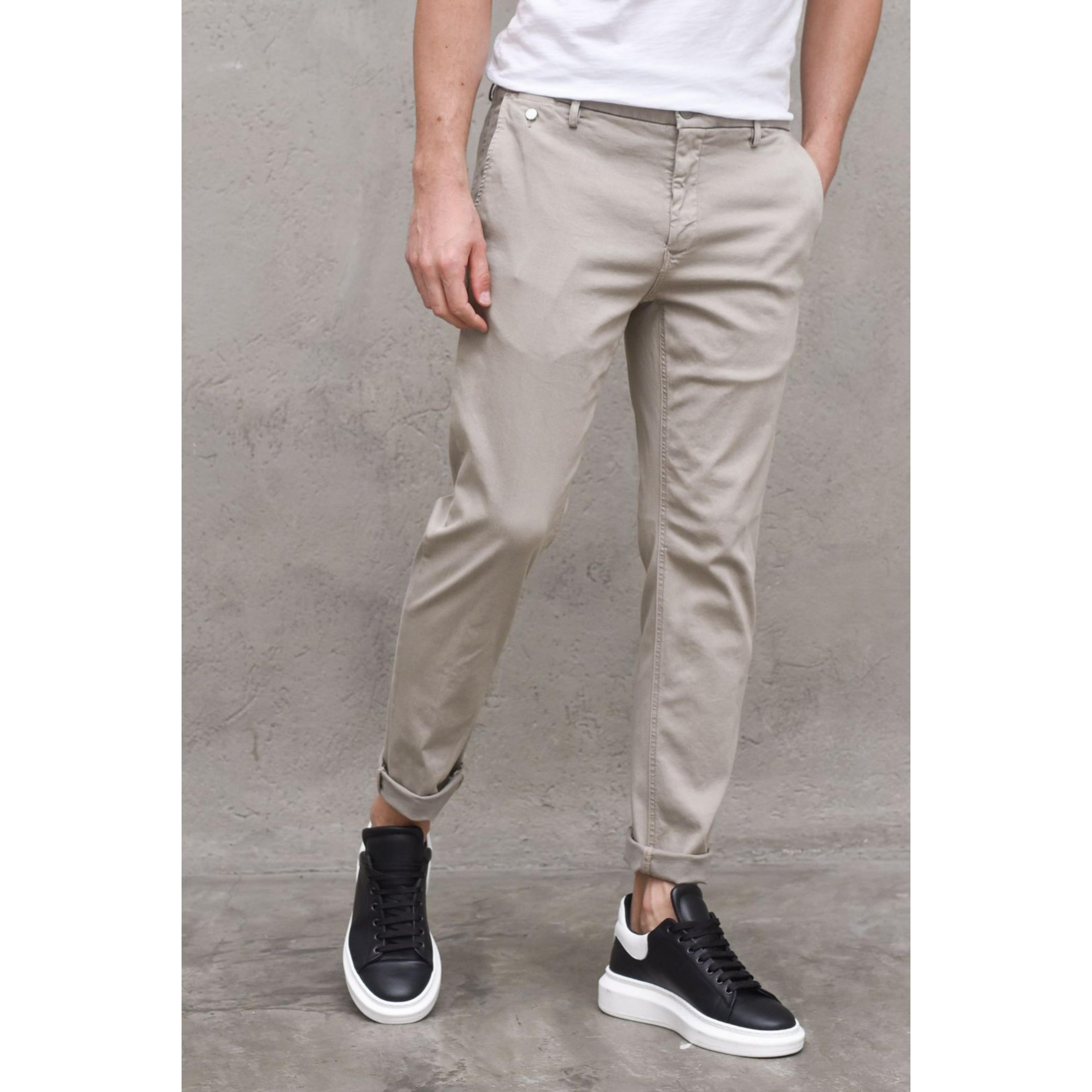 LA CASA Slim Fit Oatmeal Chinos for Men - Casual Cotton Pant