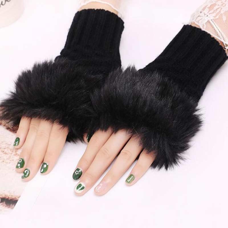 Wool Gloves Fancy Winter Women Grils wool glovs Gloves Knitting Woo wool glovs l Keep Warm Short Mitten Fingerless Lady Girl Half Finger Gloves Rabbit Lady hand Gloves KAAA856