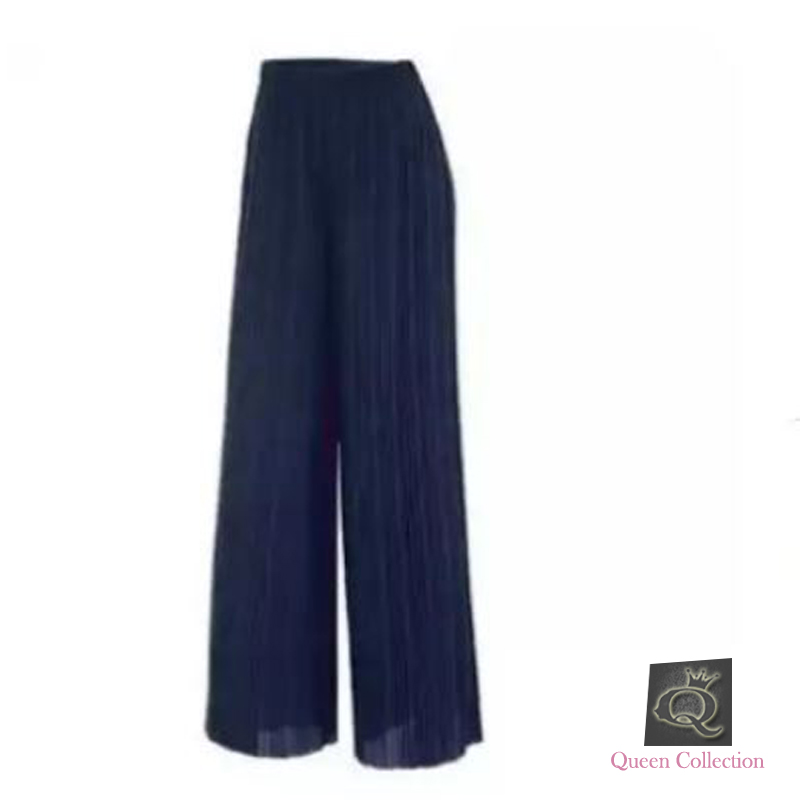 Navy Blue - Crinkle Palazzo For Women