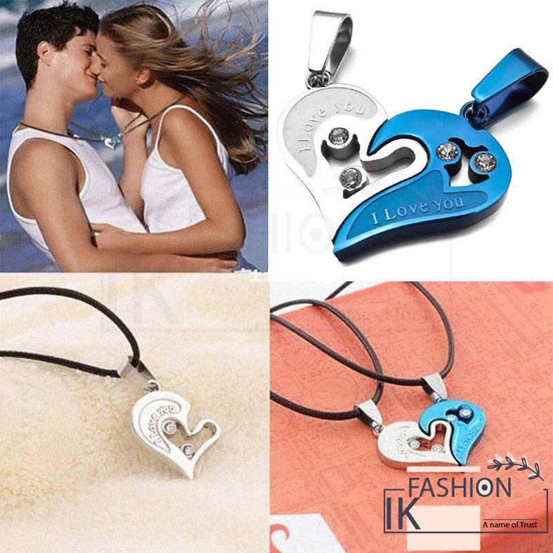 IK Fashion - Couples Jewelry 1 pair Fashion Couple Heart Shape I Love You Pendant Necklace Unisex Lovers