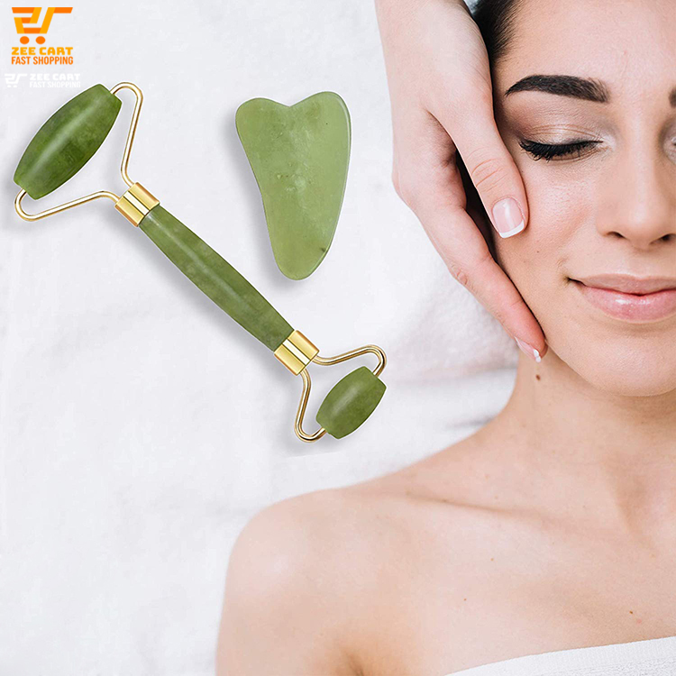 ZEE CART  Jade Roller with Gua Sha Set    High-Quality Jade Roller for Skin Massage   Jade Roller with Gua Sha Set for Anti-Ageing   Facial Massage Tool by Jade Roller with Gua Sha   Jade Roller with Gua Sha for Men and Women Skincare: