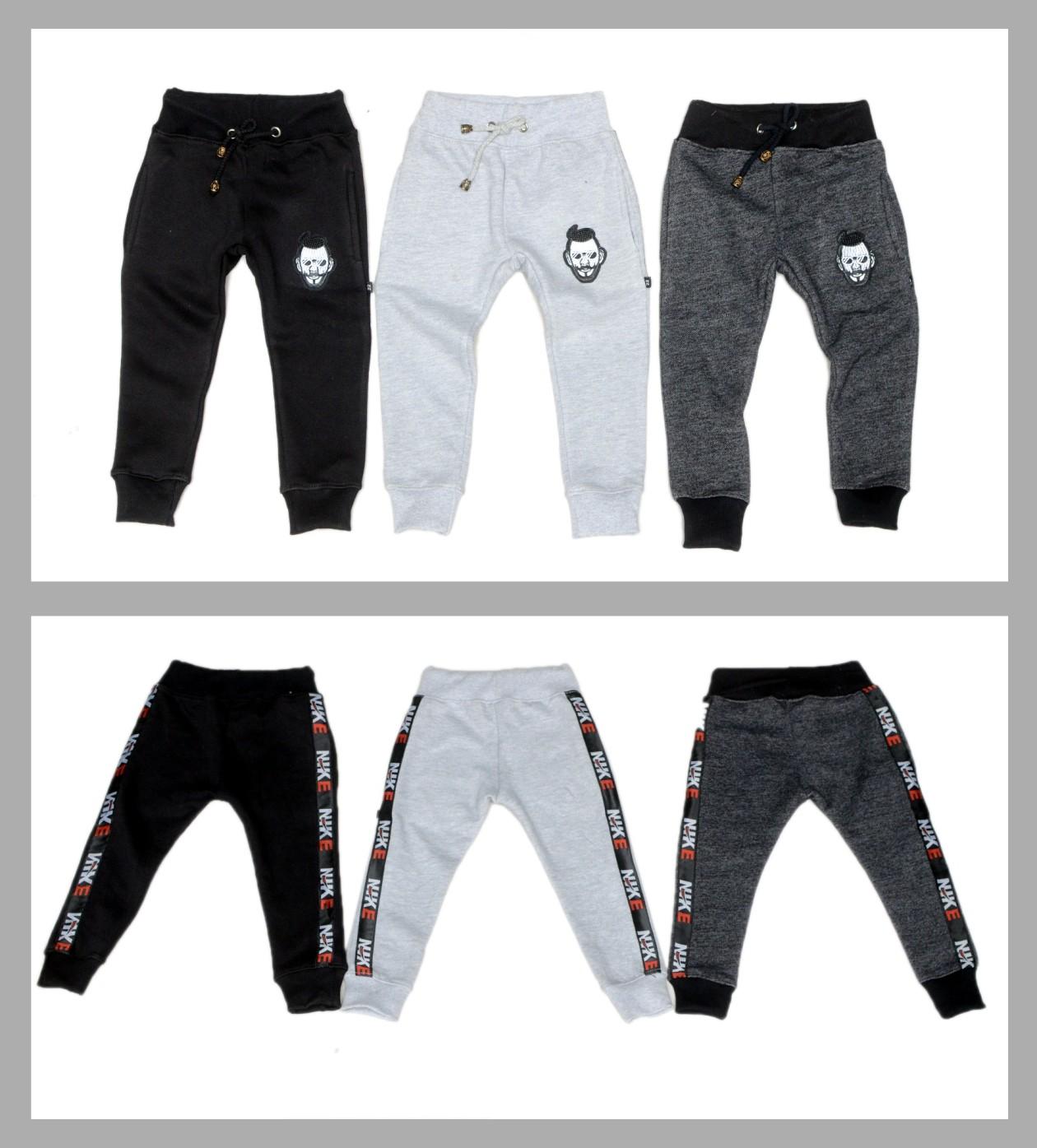 FatihaFashion Pack of 3 Random Colors Unisex Kids Cotton Pants Fleece Elastic Waist Winter Trousers Baby Bottoms Sweatpants 1-12 Years