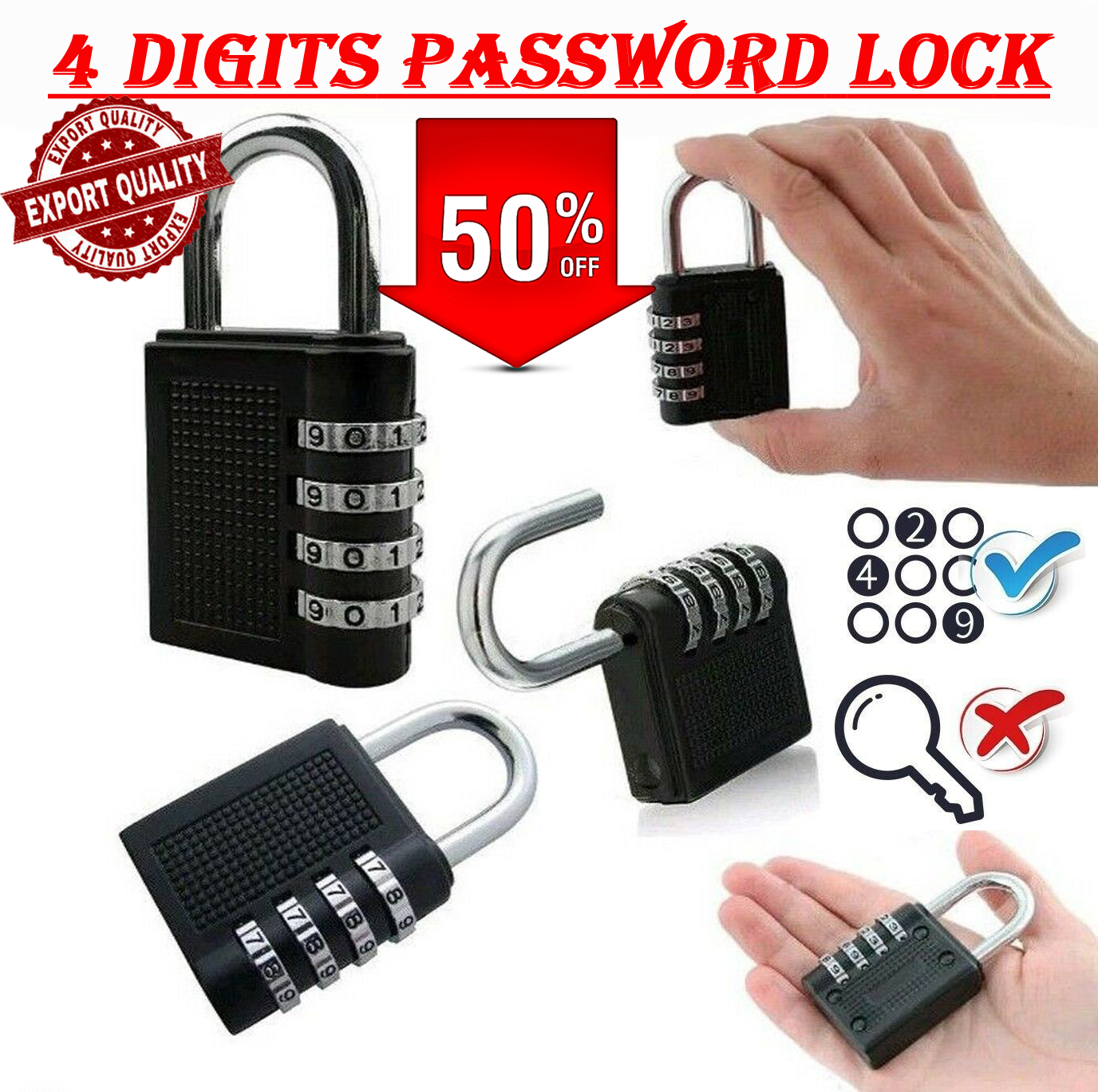 4 Digit Resettable Code Combination Lock Portable Waterproof Keyless Smart Padlock For Suitcase Gym School Locker Luggage Travel Bag Bicycle Scooter Tool Box Door Safety Security Protector Locks Anti Theft Dial Number Password Padlocks High Quality Big
